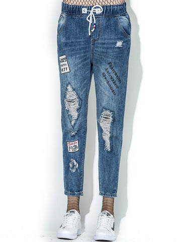 Popular Blue Elastic Waist Ninth Pants Ripped Jeans Bottoms
