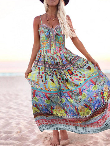 Printed Spaghetti-neck Bow-embellished Maxi Dress