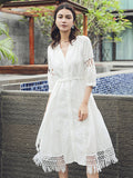 Lace-up Beach Tasseled White Midi Dresses