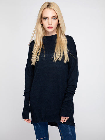 Beautiful Navy Blue Soft Long Sleeve Slim Fit Sweater Tops