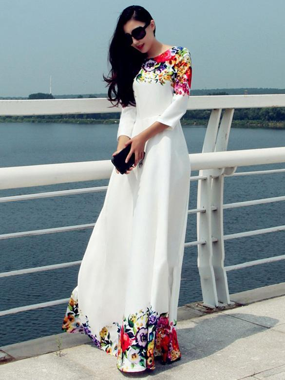 Printed Round Neck Maxi Dress