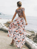 Beautiful Floral Off-shoulder Tops And Split-side Skirt Bottoms