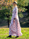 White V-neck Floral-Print Bohemia Maxi Dress