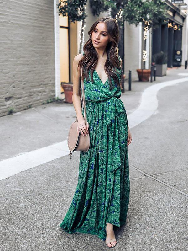 66546134912 Green Bohemia Sleeveless Printed Maxi Dress – oshoplive