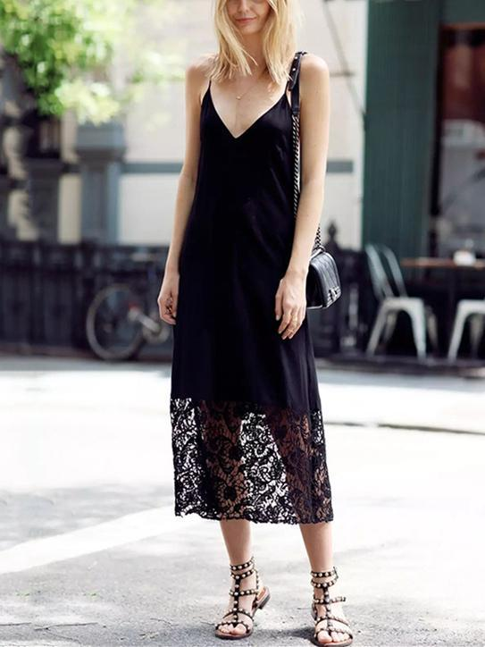 Lace Spaghetti-neck Backless Midi Dress