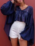 Chiffon Puff Sleeves Blouses&Shirts Top