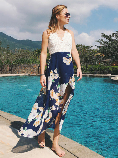 Bohemia Floral Backless Dresses