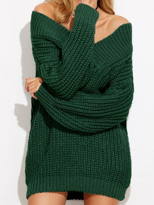 Off Shoulder V-neck Solid Color Sweater Tops