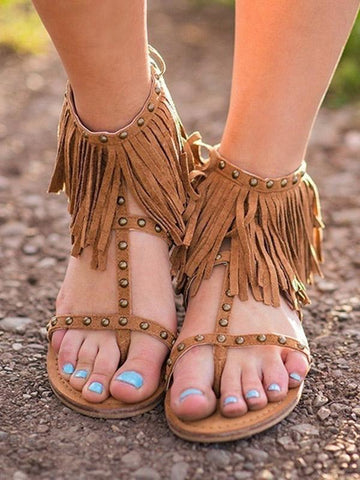 Suede Tassels Low-heel Shoes
