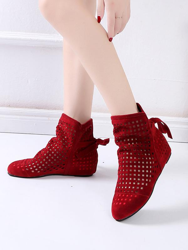 Casual Hollow Bandage Boots Shoes
