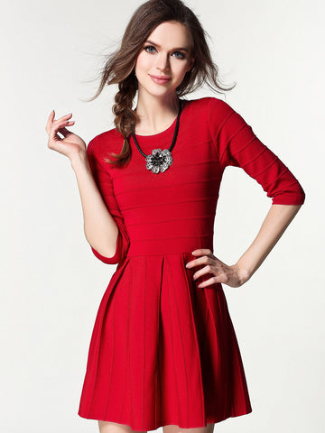 Pretty A Line Round Neck Half Sleeve Mini Sweater Dress