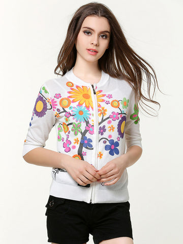 Pretty Sweet Floral Round Neck Half Sleeve with Zipper Cardigan Tops