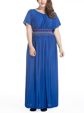 Classical Plus Size Short Sleeve Round Neck Maxi Dress