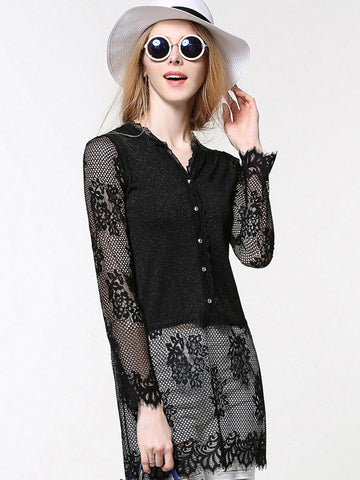 Sexy Pretty Lace Long Sleeve Thin Cardigan Tops
