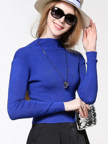 Simple Beautiful High Collar Long Sleeve Short Sweater Tops