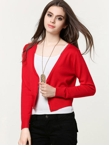 Simple Solid color Long Sleeve with Buttons Sweater Cardigan Tops