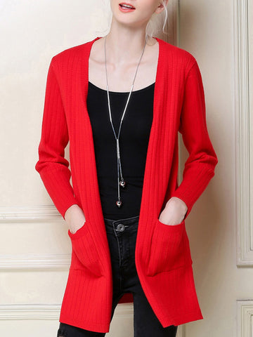 Simple Solid Color Long Sleeve Long Cardigan Tops