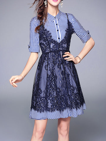 Pretty Fashion Lace Short Sleeve Lapeled Neck A-line Midi Dress Suits