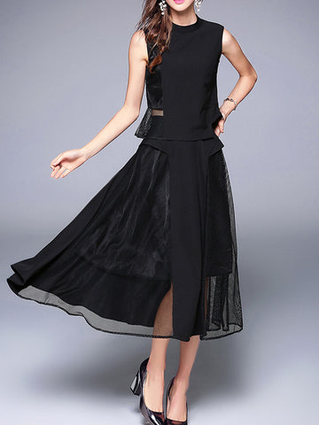 Pretty Fashion Chiffon Hollow Sleeveless  Turtle  Neck Midi  Dress Suits