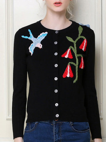 Special Embroidery Long Sleeve Round Neck with Buttons Cardigan Tops