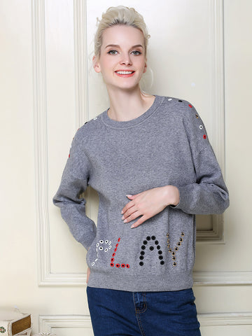 Unique Letter Round Neck Long Sleeve with Holes T-Shirt Tops