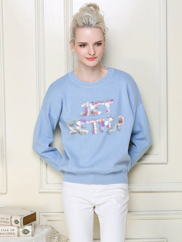 Special Sequins Letter Round Neck Long Sleeve T-Shirt Tops