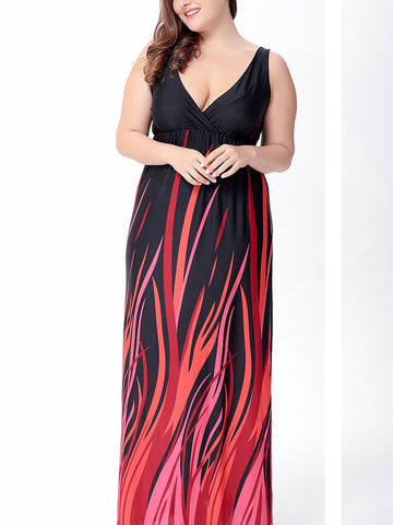 Plus Size V Neck Column Straps Red and Black Maxi Dress