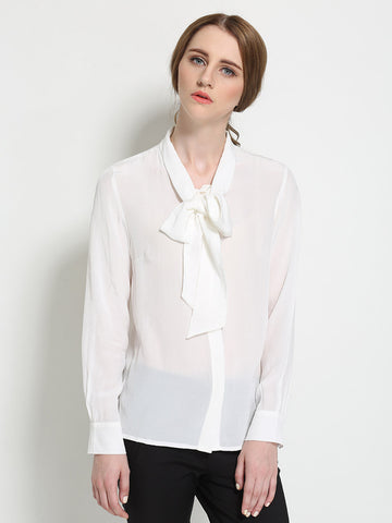 Pretty White with Bowknot Long Sleeve Blouse & Shirt Tops