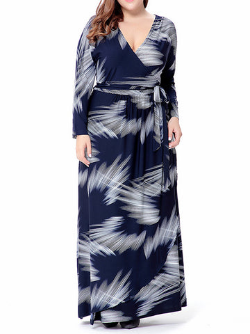 Plus Size Printed V-neck Long Sleeves Maxi Dress
