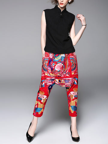 Stylish Crop Top And Floral Pants Suit