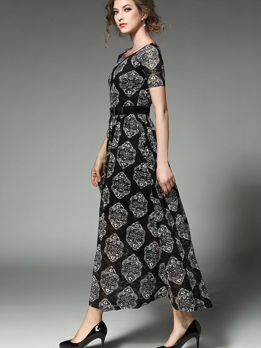 In Stock Lace Short Sleeve Round Neck with Sash High Quality Maxi Dress