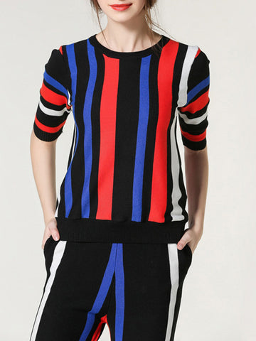 Popular Fashion Stripe Round Neck Half Sleeve T-Shirt and Pants Suits