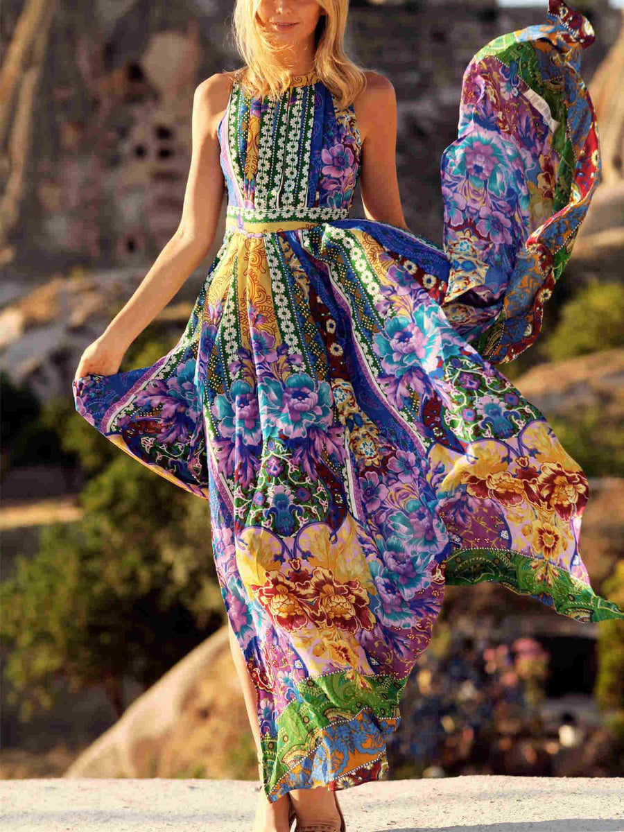 Printed Sleeves Backless Big Hemline Bohemia Maxi Dress