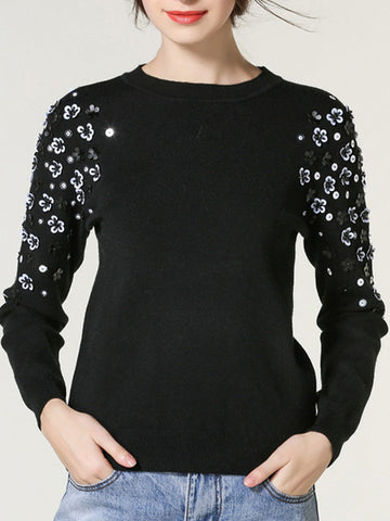 Sweet Pretty with Flowers Round Neck Long Sleeve Sweater Tops