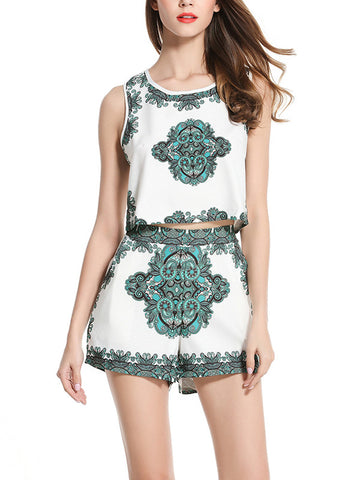 Fashion Round Neck Floral Print  Vest and Shorts Suits