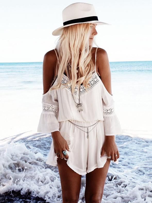 Chiffon V-Neck Off Shoulder Jumpsuits