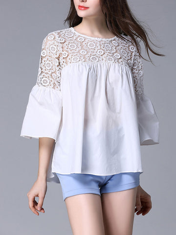 Pretty White Lace Plus Size 3/4 Trumpet Sleeve Blouse Shirt Tops