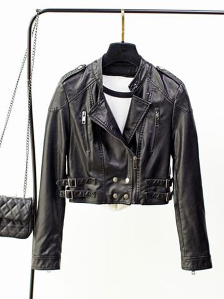 Simple Black Wide Lapel Long Sleeve with Zipper PU Leather Jacket Outwear