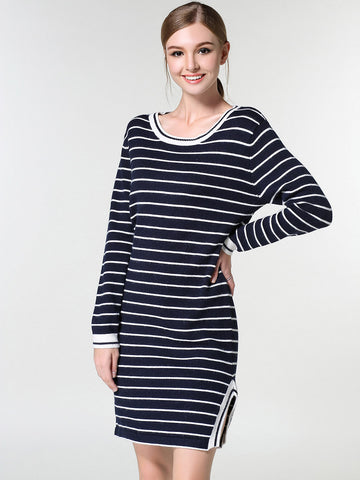 Simple Stripe Round Neck Long Sleeve Side Split Midi Sweater Dress