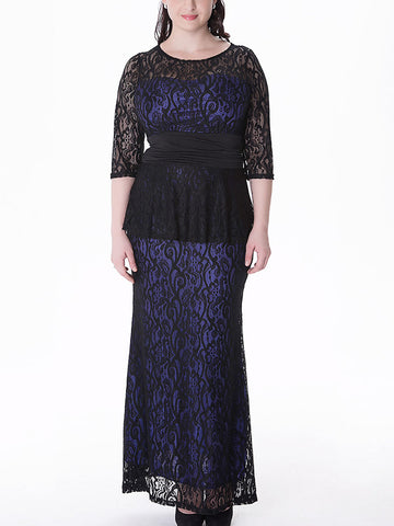 Plus Size Lace Long Sleeve Two Pieces Maxi Dresses