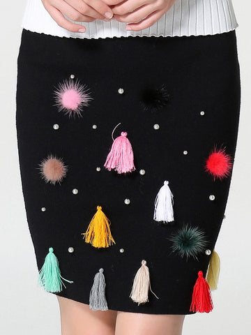 Pretty Colorful Tassles Beading Black Skirt Bottoms