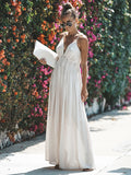 Bohemia Lace Backless V-neck Waisted Maxi Dress