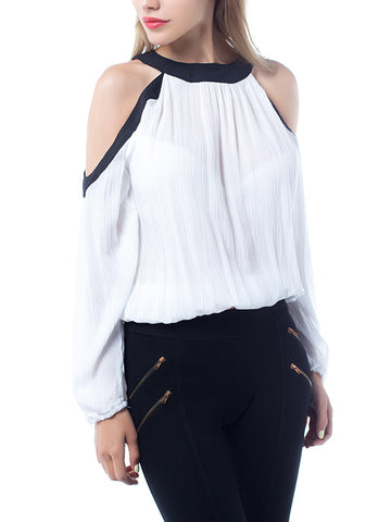 Straps Hollow Artificial Cotton Long Sleeves White Tops