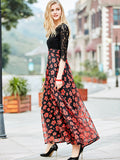 Beautiful Flower Print Lace Round Neck Half Sleeve Maxi Dress