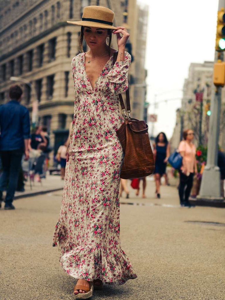 V Neck Floral Print Bohemia Maxi Dress Oshoplive