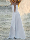 White Deep V-neck Split-side Maxi Dress