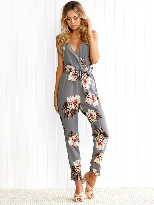 Floral Spaghetti-neck Backless Long Jumpsuits
