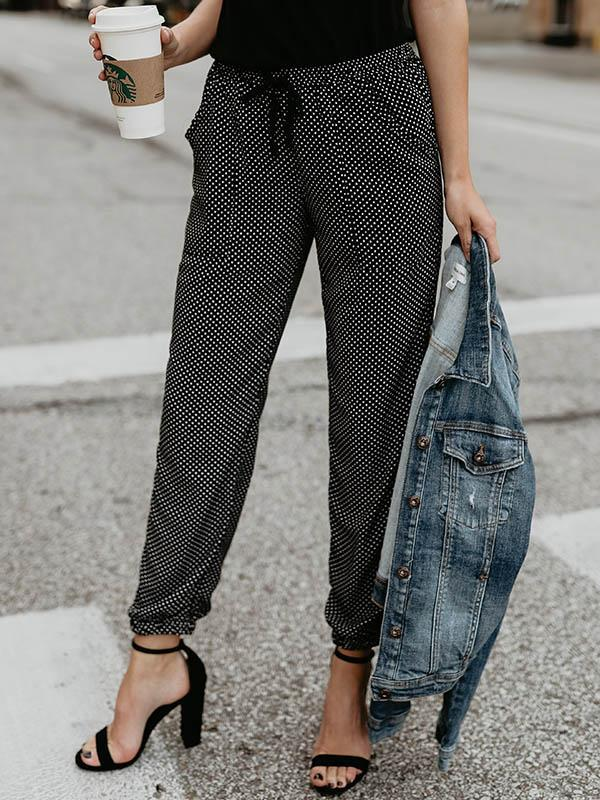 Casual Polka-Dot Belted Pants Bottoms