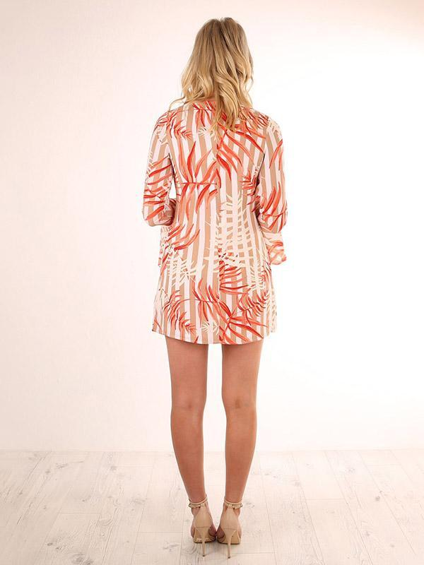 Pretty Printed Flared Sleeves Mini Dress