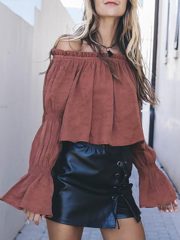 Off-the-shoulder Flared Sleeves Blouses&Shirts Top